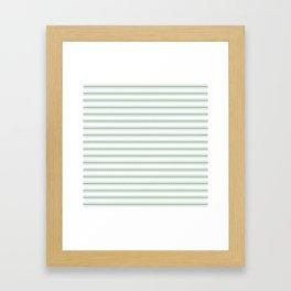 Moss Green and White Mattress Ticking Wide Striped Pattern Framed Art Print