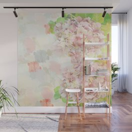 Pink Hydrangeas on a soft pastel abstract background Wall Mural