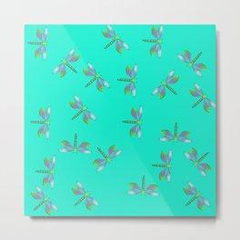 Dragonflies In Aqua and Purple Metal Print