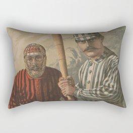 Vintage Baseball Batter and Catcher Illustration (1885) Rectangular Pillow