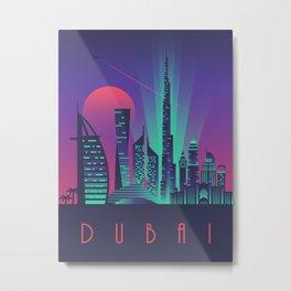 Dubai City Skyline Retro Art Deco Tourism - Night Metal Print