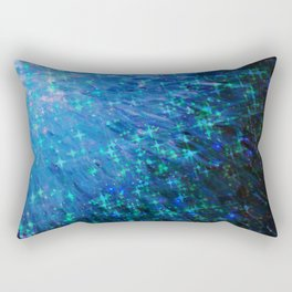 GALACTIC SCALES Sea Scales in Deep Royal Marine Navy Blue Tones, Stars Abstract Acrylic Painting  Rectangular Pillow