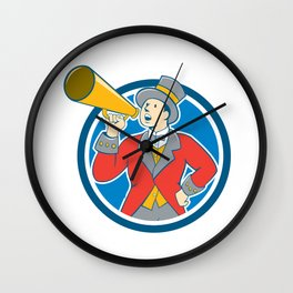 Circus Ringmaster Bullhorn Circle Cartoon Wall Clock