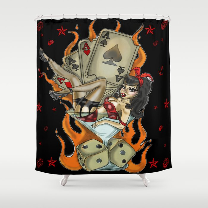 Pin Up Vintage Tattoo Shower Curtain By Lidiamisfit