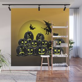 Pumpkins and witch in front of a full moon Wall Mural