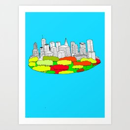 Skyscrapers in the trees Art Print
