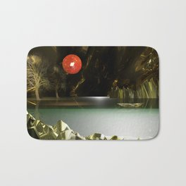 3d Modeling Cave Lake with Red Sun Bath Mat