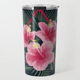 Tropical Flowers. Pink Hibiscus Travel Mug