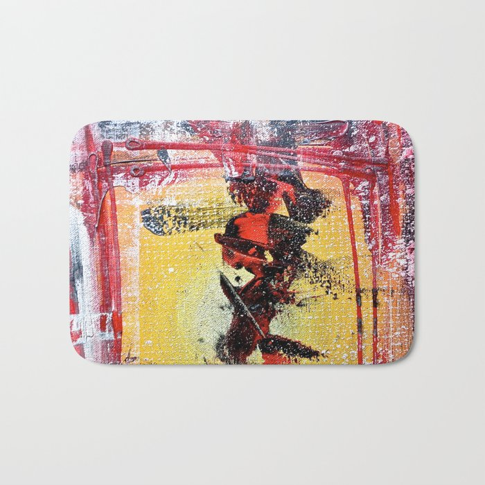 What the Hell - colorful abstract painting Bath Mat