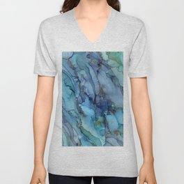 Mermaid Party Blue Marble Abstract Ink Unisex V-Neck