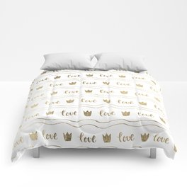 Modern faux gold crown waves stripes love typography Comforters