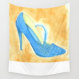 Blue Feathered Heel Wall Tapestry