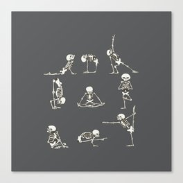 Skeleton Yoga_Gray Canvas Print