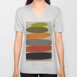 Mid-Century Modern Ovals Abstract Unisex V-Neck