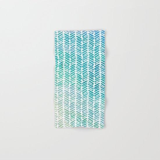 Handpainted Chevron pattern-small-aqua watercolor on white Hand & Bath Towel