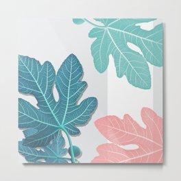 Colored Fig Tree Leaves Metal Print