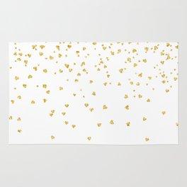 Falling hearts gold glitter confetti - Heart Love Valentine Rug