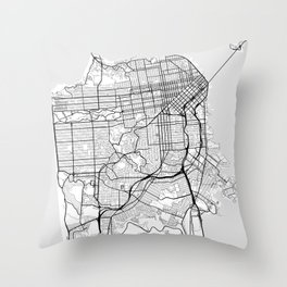 Scandinavian map of San Francisco Penninsula Throw Pillow