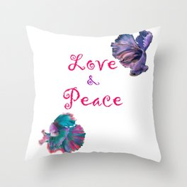 Love and Peace Fighter Fish Throw Pillow