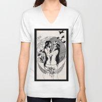 yin yang V-neck T-shirts featuring Yin Yang by Reverie Yang