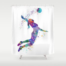 Volleyball Girl Colorful Blue Purple Watercolor Artwork Shower Curtain