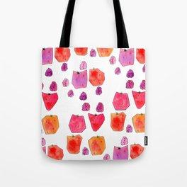 """Berry Happy!"" Strawberry Raspberry Illustration Fruits Pattern Kitchen Decor Food Tote Bag"