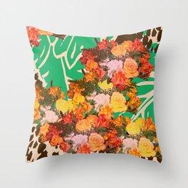 TROPICAL FLOWER LEOPARD SPOT ISLAND PATTERN Throw Pillow