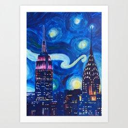 Starry Night in New York - Van Gogh Inspirations in Manhattan Art Print