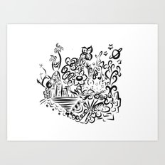 Black and Blanco Art Print