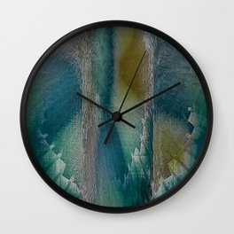 Industrial Wings in Teal Wall Clock