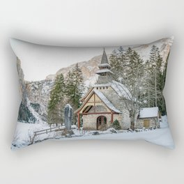 Cappella lago di Braies Rectangular Pillow
