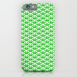 Royal sparkling pattern of green hearts on a light background. iPhone Case