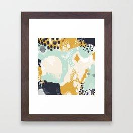 Tinsley - abstract painting minimalist decor nursery dorm college art gold navy Framed Art Print