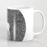 alisa burke Mugs featuring Deer Mandala 2 black-white by Anna Grunduls