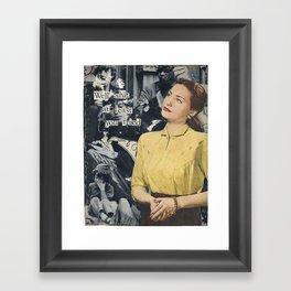Woman, yellow shirt Framed Art Print