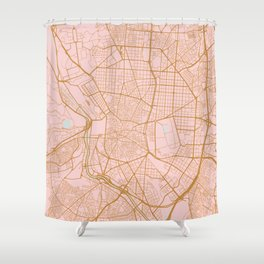 Pink and gold Madrid map, Spain Shower Curtain