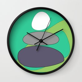 Abstract digital Zen balance art. Stack of stones on a green background Wall Clock