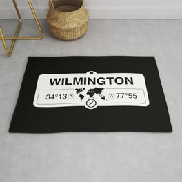 Wilmington Map GPS Coordinates Artwork with Compass Rug