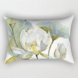 Lotus Plant and Fish Zen Design Watercolor Muted Pallet Botanical Art Rectangular Pillow