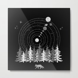 Alone Time - Solar System Nature Fox Metal Print