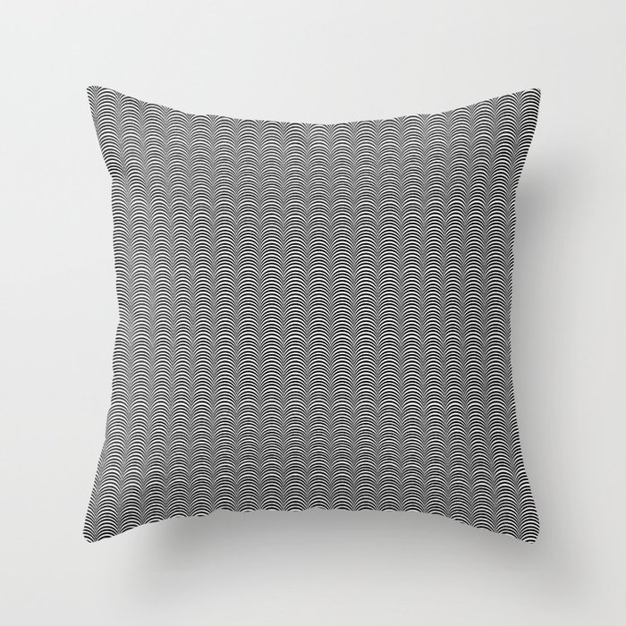 Black and White Scallop Line Pattern Digital Graphic Design Throw Pillow