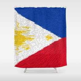 Extruded flag of the Philippines Shower Curtain