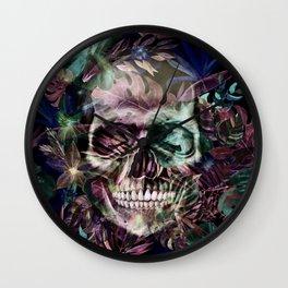 leaves skull Wall Clock