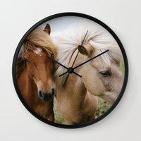 iceland Wall Clocks featuring Iceland Horses by LUKE/MALLORY