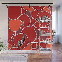 Pomegranate Harvest with Fruit and Seeds Wall Mural