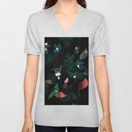 Modern Art Dark Floral Pattern Unisex V-Neck