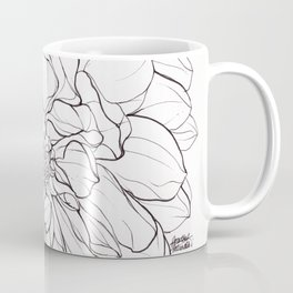 Ink Illustration of a Dahlia Coffee Mug