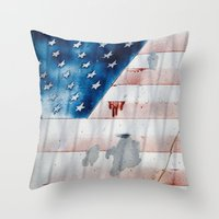 flag Throw Pillows featuring flag by Juliya Lezhen