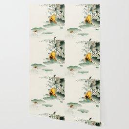 Frog in the swamp  - Vintage Japanese Woodblock Print Art Wallpaper