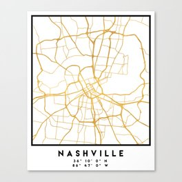 NASHVILLE TENNESSEE CITY STREET MAP ART Canvas Print